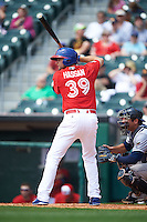 Buffalo Bisons outfielder Alex Hassan (39) at bat during a game against the Scranton/Wilkes-Barre RailRiders on June 10, 2015 at Coca-Cola Field in Buffalo, New York.  Scranton/Wilkes-Barre defeated Buffalo 7-2.  (Mike Janes/Four Seam Images)