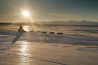Monday March 12, 2007   ----   Jim Lanier on the Unlakleet slough nearing Unalakleet on Monday morning.