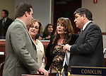 Nevada Assembly Democrats, from left, Speaker John Oceguera, Debbie Smith, Marilyn Kirkpatrick and Marcus Conklin talk on the Assembly floor Monday, June 6, 2011, at the Legislature in Carson City, Nev., in the final hours of the Legislative session. .Photo by Cathleen Allison