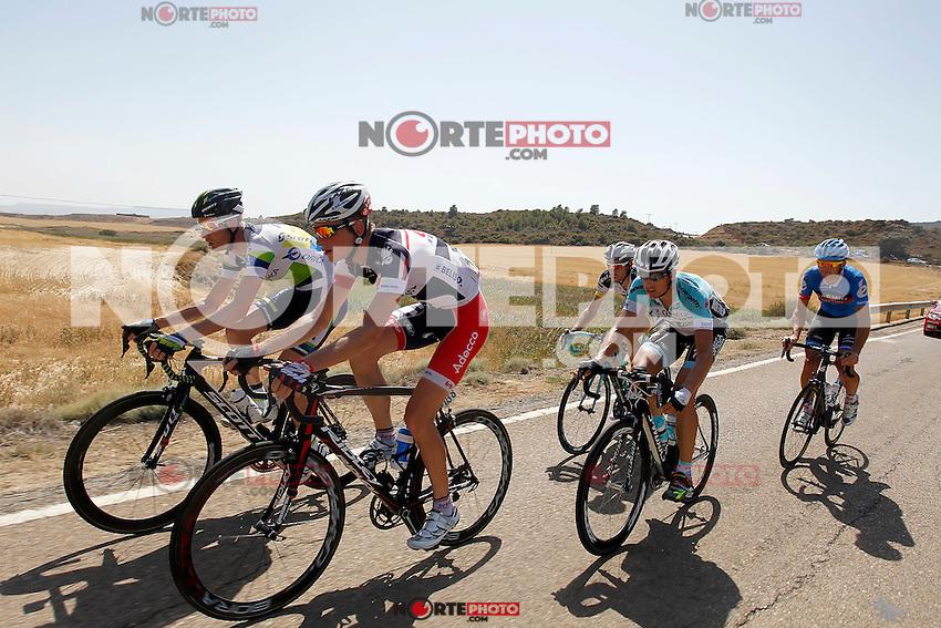Pieter Weening (Orica-GreenEdge), Martijn Maaskant (Garmin-Sharp), Joost Van Leijen (Lotto Belisol), Thomas De Gendt (Vacansoleil-DCM) and Kristof Vandewalle (Omega-Pharma-QuickStep) during the stage of La Vuelta 2012 between Tarazona and Jaca.August 23,2012. (ALTERPHOTOS/Paola Otero) /NortePhoto.com<br /> <br /> **CREDITO*OBLIGATORIO** *No*Venta*A*Terceros*<br /> *No*Sale*So*third* ***No*Se*Permite*Hacer Archivo***No*Sale*So*third*