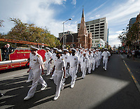 120425-N-DR144-294 PERTH, Australia (April 25, 2012) Sailors assigned the Nimitz-class aircraft carrier USS Carl Vinson (CVN 70) march in the Australia and New Zealand Army Corps (ANZAC) Day March through downtown Perth. ANZAC Day is a national day of remembrance in Australia and New Zealand to honor those who died and served in military operations for their countries. Carl Vinson is anchored in Perth, Australia for a port visit. (U.S. Navy photo by Mass Communication Specialist 2nd Class James R. Evans/Released)