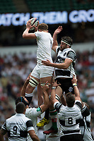 Twickenham, Surrey, United Kingdom.  Nick ISIEKWE, jumps in front of Jeremy THRUSH, during the, Old Mutual Wealth Cup, England vs Barbarian's match, played at the  RFU. Twickenham Stadium, on Sunday   28/05/2017England    <br /> <br /> [Mandatory Credit Peter SPURRIER/Intersport Images]