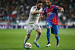 Real Madrid´s Daniel Carvajal (L) and Levante´s Morales during La Liga match at Santiago Bernabeu stadium in Madrid, Spain. March 15, 2015. (ALTERPHOTOS/Victor Blanco)