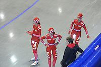 SCHAATSEN: HEERENVEEN: Thialf, 14-06-2012, Zomerijs, Mayon Kuipers, Janine Smit, trainster Desly Hill, Thijsje Oenema, ©foto Martin de Jong
