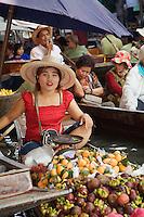 Thai woman selling produce, Damnoen Saduak Floating Market, Damnoen Saduak, Thailand