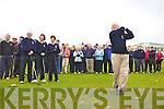 Castleisland captain John Geaney tees off at his Captains drive on Sunday morning