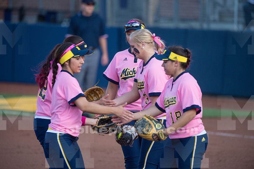 The University of Michigan softball team beats Penn State University, 8-0, at Alumni Field in Ann Arbor on May 1, 2015.