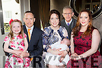 Little Roisin Cronin Scartaglen, who celebrated her christening with her parents Edel and Con, big Sister isabel, and god parents Cillian McCarthy and Anna Cronin in the Killarney Oaks Hotel on Saturday