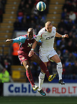 Luis Boa Morte of West Ham United challenges Gretar Steinsson of Bolton Wanderers during the Premier League match at the Reebok Stadium, Bolton. Picture date 12th April 2008. Picture credit should read: Simon Bellis/Sportimage