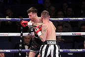 24th March 2018, O2 Arena, London, England; Matchroom Boxing, WBC Silver Heavyweight Title, Dillian Whyte versus Lucas Browne; Undercard fight between  Lewis Ritson versus Scott Cardle British Lightweight championship; Lewis Ritson lands a straight right hand to Scott Cardle during the fight
