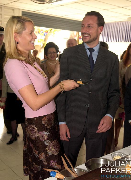 Crown Prince Haakon & Crown Princess Mette-Marit of Norway's visit to Thailand..Visit to the Kredtrakarn Centre near Bangkok..