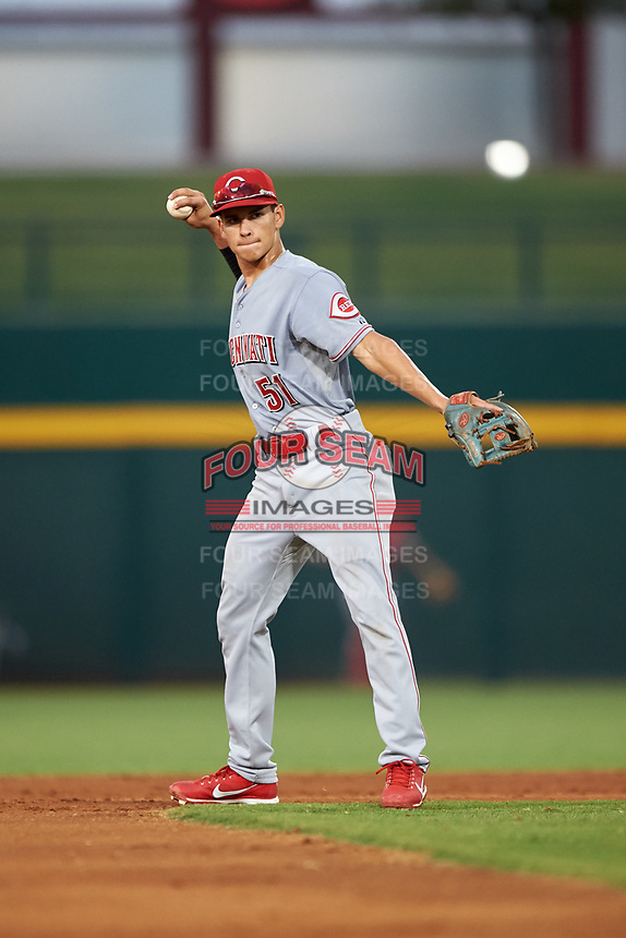 AZL Reds shortstop Yan Contreras (51) throws to third base during an Arizona League game against the AZL Cubs 2 on July 23, 2019 at Sloan Park in Mesa, Arizona. AZL Cubs 2 defeated the AZL Reds 5-3. (Zachary Lucy/Four Seam Images)