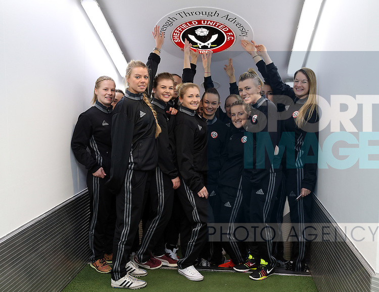 The Sheffield United Ladies team pose for a photo during the FA Women's Cup First Round match at Bramall Lane Stadium, Sheffield. Picture date: December 4th, 2016. Pic Clint Hughes/Sportimage
