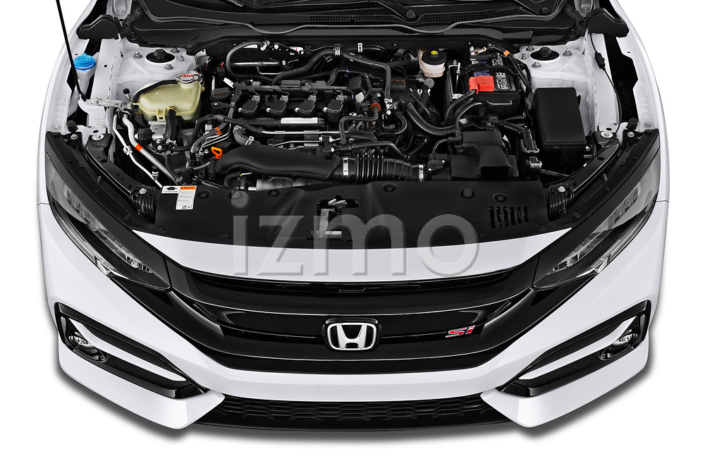 Car Stock 2020 Honda Civic-Si-Coupe Si 2 Door Coupe Engine  high angle detail view
