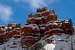 Snow dusted red rock
