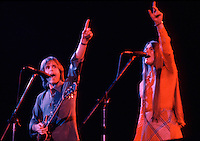 Bob Weir and Donna Godchaux singing Aiko Aiko with the Grateful Dead in Concert at the Huntington Civic Center, Huntington West Virginia on 16 April 1978. Image No. 78C16-18