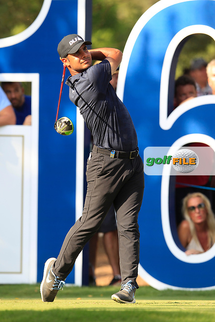 Shubhankar Sharma (IND) on the 16th tee during the final round of the DP World Tour Championship, Jumeirah Golf Estates, Dubai, United Arab Emirates. 18/11/2018<br /> Picture: Golffile | Fran Caffrey<br /> <br /> <br /> All photo usage must carry mandatory copyright credit (&copy; Golffile | Fran Caffrey)