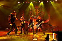 LONDON, ENGLAND - NOVEMBER 30: Johan Hegg, Johan Söderberg, Ted Lundström and Olavi Mikkonen of 'Amon Amarth' performing at Brixton Academy on November 30, 2019 in London, England.<br /> CAP/MAR<br /> ©MAR/Capital Pictures