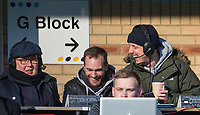 Bill Turnbull (left) & BBC three counties radio Phil Catchpole (right) during the Sky Bet League 1 match between Wycombe Wanderers and Bradford City at Adams Park, High Wycombe, England on 2 February 2019. Photo by Andy Rowland.