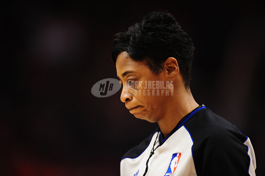 Mar. 27, 2011; Phoenix, AZ, USA; NBA referee Violet Palmer during the game between the Dallas Mavericks against the Phoenix Suns at the US Airways Center. Mandatory Credit: Mark J. Rebilas-
