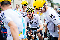 Picture by Alex Whitehead/SWpix.com - 11/07/2017 - Cycling - Le Tour de France - Stage 11, Eymet to Pau - Luke Rowe of Team Sky and team-mates chat on the start line.