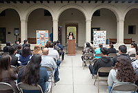 "Ashley Lizarraga.<br /> Upward Bound hosts their annual ""End of the Year"" celebration with participants and their families on May 12, 2018 in the courtyard of Booth Hall. Jimmy Gomez, U.S. Representative for California's 34th congressional district, was the featured speaker at the event.<br /> Upward Bound was established at Occidental College in 1966 and has since served over 2000 first generation, low income students in the Los Angeles region.<br /> (Photo by Marc Campos, Occidental College Photographer)"
