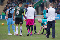 Match officials appear to question a member of the ground staff about the pitch ahead of the Sky Bet League 2 match between Plymouth Argyle and Wycombe Wanderers at Home Park, Plymouth, England on 30 January 2016. Photo by Mark  Hawkins / PRiME Media Images.