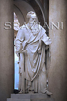 Statue St. Paul Outside the Walls' Basilica in Rome,Pope Benedict XVI during the ecumenical ceremony of Vespers in the in St. Paul Outside the Walls' Basilica in Rome, Italy, .Jan. 25, 2009.
