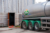 Arla milk tanker loading milk at a farm in Dumfries,Scotland.