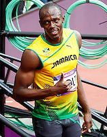 04.08.2012. London, England.   Olympic Games 2012 London  100m mens Picture shows Usain Bolt Jam