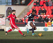 17th March 2018, Pittodrie Stadium, Aberdeen, Scotland; Scottish Premier League football, Aberdeen versus Dundee; Glen Kamara of Dundee and Graeme Shinnie of Aberdeen