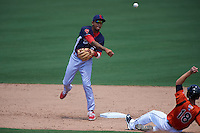 Reading Fightin Phils shortstop J.P. Crawford (2) turns a double play as Drew Dosch (18) slides in during a game against the Bowie Baysox on July 22, 2015 at Prince George's Stadium in Bowie, Maryland.  Bowie defeated Reading 6-4.  (Mike Janes/Four Seam Images)