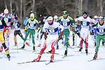 FRANCONIA, NH - MARCH 11:   Athletes move out of the mass start during Men's 20K Freestyle event at the Division I Men's and Women's Skiing Championships held at Jackson Ski Touring on March 11, 2017 in Jackson, New Hampshire. (Photo by Gil Talbot/NCAA Photos via Getty Images)