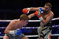 Jake Pettitt (blue gloves) defeats Stefan Slavchev during a Boxing Show at the Royal Albert Hall on 8th March 2019