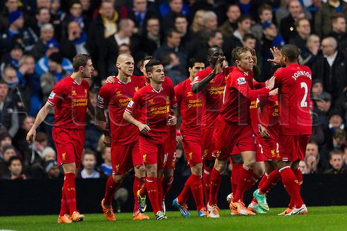 29.12.2013  London, England.   Liverpool's Martin SKRTEL celebrates scoring the opening goal with teammates during the Premier League game between Chelsea and Liverpool from Stamford Bridge.