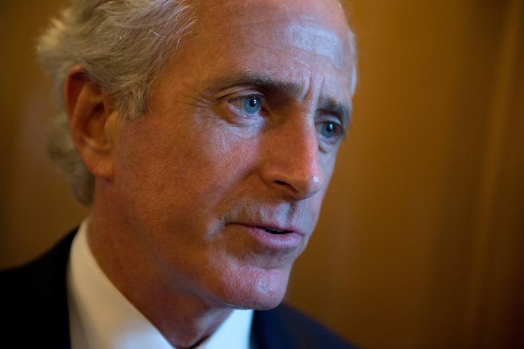 UNITED STATES - JULY 16: Sen. Bob Corker, R-Tenn., speaks with a reporter in the Capitol before the senate luncheons. (Photo By Tom Williams/CQ Roll Call)