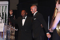 David Beckham introduces Pele and presents him with a lifetime achievement award during the 2008 Streets to Fields Gala at Gotham Hall in NYC, NY, on March 19, 2008.