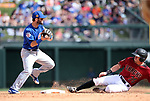 Chicago Cubs' Tommy La Stella makes a play against Arizona Diamondbacks' Evan Marzilli during a spring training game in Scottsdale, Ariz., on Thursday, March 23, 2017.<br /> Photo by Cathleen Allison/Nevada Photo Source