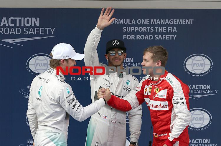 12.04.2015, Shanghai-International-Circuit, Schanghai, CHN, Gro&szlig;er Preis von China / Schanghai 2015, im Bild  Nico Rosberg (GER), Mercedes GP - Lewis Hamilton (GBR), Mercedes GP - Sebastian Vettel (GER), Scuderia Ferrari<br /> for the complete Middle East, Austria &amp; Germany Media usage only!<br />  Foto &copy; nph / Mathis