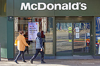 Pictured: The McDonalds restaurant which is open for take-away orders only in the centre of Swansea, south Wales, UK. Friday 20 March 2020<br /> Re: Covid-19 Coronavirus pandemic, UK.