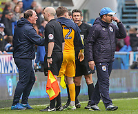 Preston North End manager Simon Grayson has a word with referee Lee Probert after the match<br /> <br /> Photographer Alex Dodd/CameraSport<br /> <br /> The EFL Sky Bet Championship - Huddersfield Town v Preston North End - Friday 14th April 2016 - The John Smith's Stadium - Huddersfield<br /> <br /> World Copyright &copy; 2017 CameraSport. All rights reserved. 43 Linden Ave. Countesthorpe. Leicester. England. LE8 5PG - Tel: +44 (0) 116 277 4147 - admin@camerasport.com - www.camerasport.com