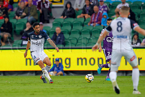 25th March 2018, nib Stadium, Perth, Australia; A League football, Perth Glory versus Melbourne Victory; Rhys Williams of Melbourne Victory passes the ball during the first half