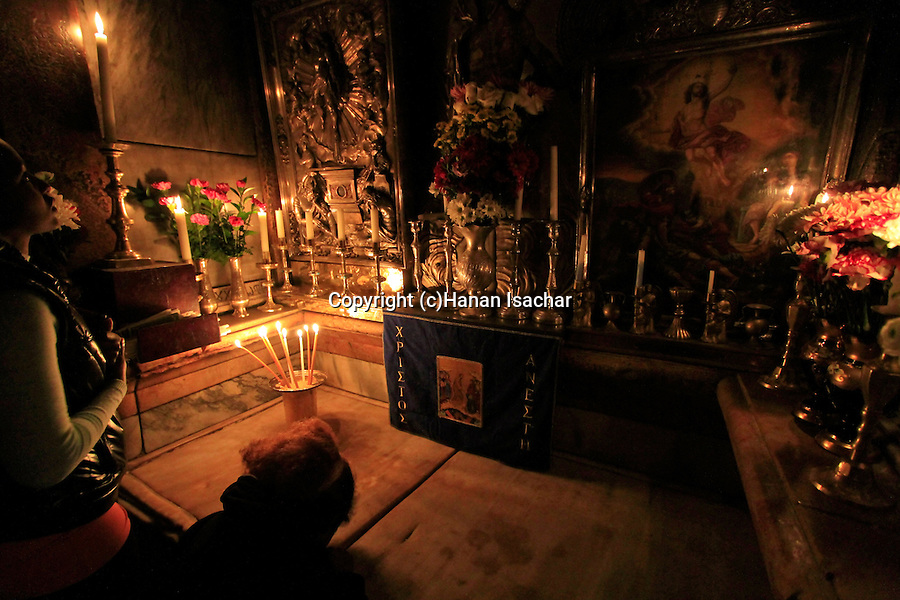 Israel, Jerusalem Old City, the chamber of the Holy Sepulchre, the 14th Station of the Via Dolorosa