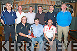 GOLFERS; On Friday night in THE bbey Tavern Artdfert the chairman of St Brendan's Hurling Club who presented members of Sean O?gs golf team whit first prize as they won the ASt Brendan's Golf Classic on the week-end of the 23 & 24th July 2011 at Ardfert Golf Club. Front l-r: Niall Hayles (Sean O?gs), Justin Horgan (chairman of St Brendan's Hurling Cl;ub) and Mossy Murphy (Sean O?g's). Back l-r : Pat Stack, Eamon Fitzgerald, Willie O'Connor, Jereimah Clifford, Declan Ragett and Tom Lawlor..