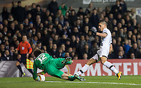 Goalkeeper Ciprian Tatarusanu of Fiorentina saves a shot from Erik Lamela of Tottenham Hotspur during the UEFA Europa League 2nd leg match between Tottenham Hotspur and Fiorentina at White Hart Lane, London, England on 25 February 2016. Photo by Andy Rowland / Prime Media images.