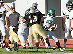Palos Verdes, CA 10/07/16 - Lawrence Aragon (Peninsula #13) and Vashon Hill (Mira Costa #2) in action during the CIF Bay League game between Mira Costa and Peninsula.