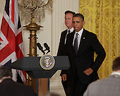 United States President Barack Obama and David Cameron, Prime Minister of Great Britain arrive for a news conference, Monday, May 13, 2013 at The White House in Washington, DC. .Credit: Chris Kleponis / CNP