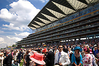 Some of the crowd in the main grandstand at Ascot Race Course during Royal Ascot Week.