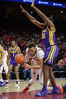NWA Democrat-Gazette/ANDY SHUPE<br /> Arkansas forward Daniel Gafford trips while making a move around LSU forward Darius Days Friday, Jan. 11, 2019, during the second half of play in Bud Walton Arena in Fayetteville. Visit nwadg.com/photos to see more photographs from the game.