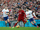 9th February 2019, Anfield, Liverpool, England; EPL Premier League football, Liverpool versus AFC Bournemouth; Roberto Firmino of Liverpool turns past Adam Smith of Bournemouth